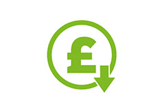 British sterling pound sign with downward image